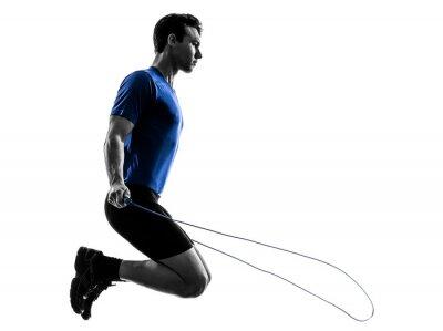 Adesivo giovane uomo che esercitano Jumping Rope silhouette