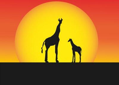 Adesivo giraffe africani in silhouette paesaggio