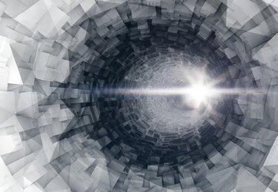 Adesivo Girando 3d interno del tunnel digitale con fine incandescente