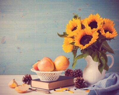 Adesivo Girasoli mazzo in vaso bianco con le mele