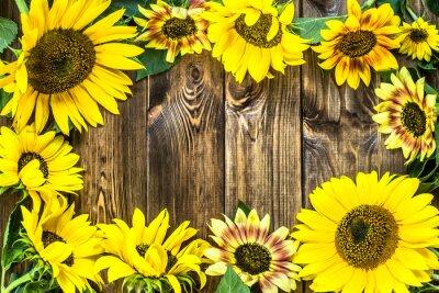 Adesivo Girasoli su sfondo di legno rustico. Fiori sfondi.