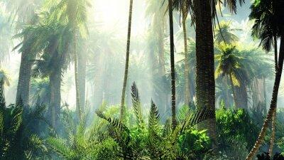 Adesivo Giungla tropicale nella nebbia. Palmi al mattino.
