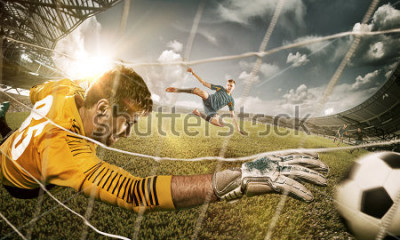 Adesivo Goalkeeper in gates jumping to catching ball