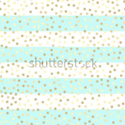 Adesivo Gocce d'oro scintillanti su strisce turchesi e bianche. Modello di vettore senza soluzione di continuità su sfondo di menta e oro a strisce. Sfondo vacanze brillanti. Scintillio dorato. Sfondo di