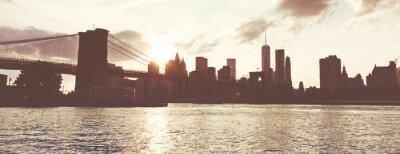Adesivo Golden Sunset sopra Manhattan Skyline, New York, Stati Uniti d'America