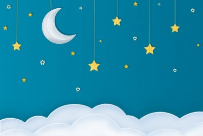 Adesivo Goodnight layout.  Paper arts of moon, stars and clouds on a blue background.
