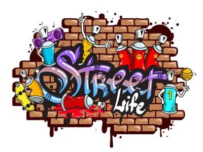Adesivo Graffiti composizione caratteri di parola
