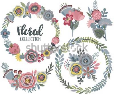 Adesivo Grafica vettoriale con bellissimi fiori, ghirlanda floreale, mazzi di fiori. Collezione colorata per il saluto, Save the Date, inviti di nozze