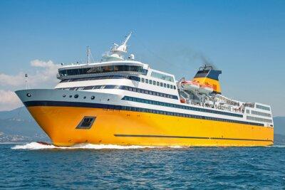 Adesivo Grande traghetto giallo va sul mare