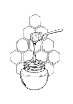 Adesivo Graphic meadow honey flowing from the stick to the bottle