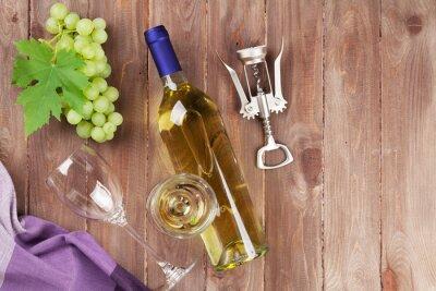Adesivo Grappolo d'uva, vino bianco e cavatappi