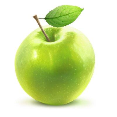 Adesivo Green Apple e leafe isolati con percorso di clipping