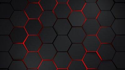 Adesivo Grigio e rosso esagoni illustrazione di sfondo moderno
