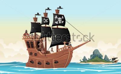 Adesivo Group of cartoon pirates on a ship at the sea