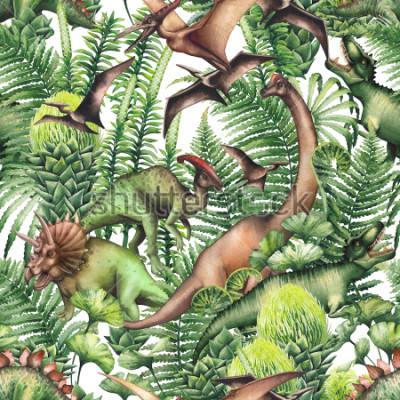 Adesivo Group of realistic watercolor dinosaurs surrounded by lush prehistoric plants. Animals of Jurassic period. Hand painted seamless pattern