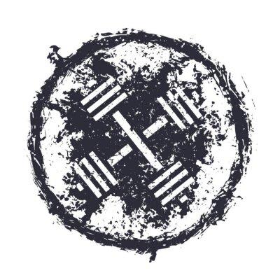 Adesivo grunge emblema con bilancieri incrociate illustrazione vettoriale, eps10