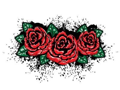 Adesivo Grunge Rose con Splatters