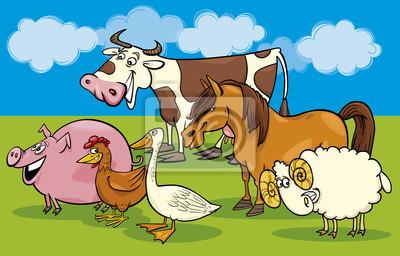 Adesivo Gruppo di cartoni animati animali da allevamento