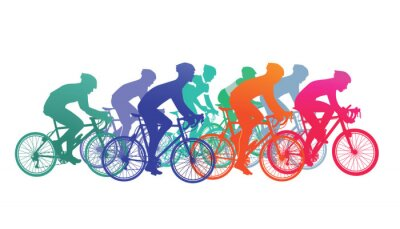Adesivo Gruppo di ciclisti in bici da corsa