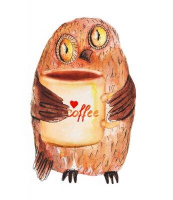 Adesivo Gufo con una tazza di caffè. Disegno acquerello mano