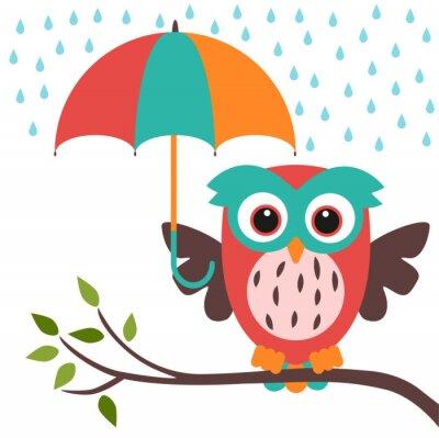 Adesivo gufo e pioggia ombrello