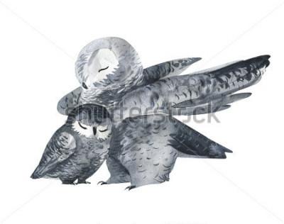 Adesivo Gufo e tecnica dell'acquerello. Animali della foresta Illustrazione realistica dipinta a mano su sfondo bianco. Biglietto festa della mamma fatto a mano.