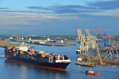 Adesivo Hamburger Hafen, Containerschiff, Container, Schlepper, Vorhafen, Elbe, Amburgo
