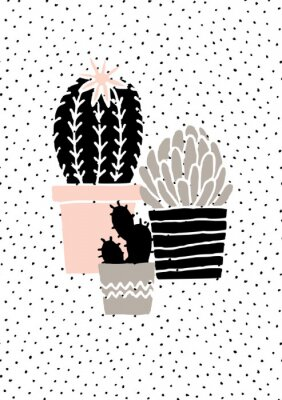 Adesivo Hand Drawn Cactus Poster