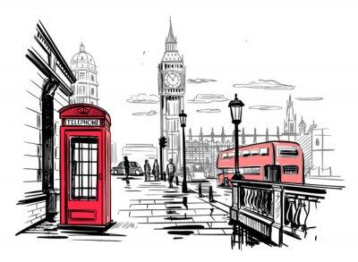 Adesivo hand drawn landscape of London city