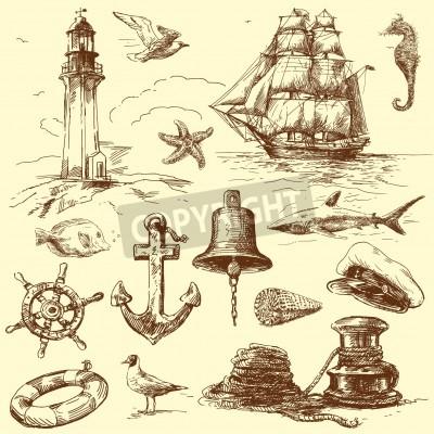 Adesivo hand drawn nautical collection