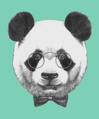 Adesivo Hand drawn portrait of Panda with glasses and bow tie. Vector isolated elements.