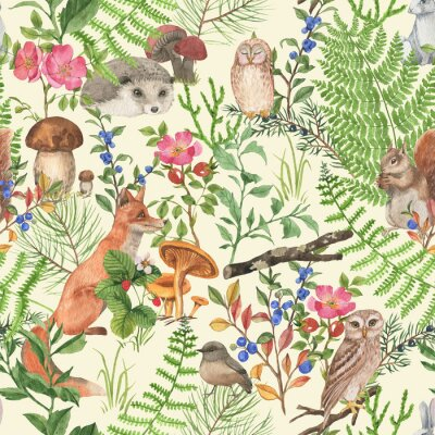Adesivo Hand drawn seamless pattern with watercolor forest animals and plants. Pattern for kids wallpaper, wood inhabitants, cute animals