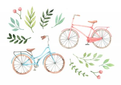 Adesivo Hand drawn watercolor illustration - Romantic bike with floral elements. City bicycle. Amsterdam. Perfect for invitations, greeting cards, posters, prints