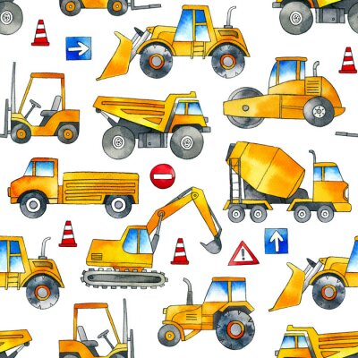 Adesivo Hand painted construction cars seamless watercolor pattern on white background.