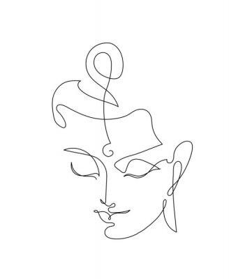 Adesivo Head Smiling Buddha. Linart drawings.