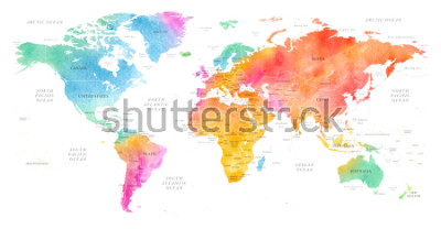 Adesivo High detailed Multicolor Watercolor World Map Illustration with borders, oceans and countries on white Background, Side View.