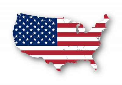 Adesivo High resolution map of the USA with american flag. You can easily remove the shadows, or to fill in the map in a different color - clipping path included.