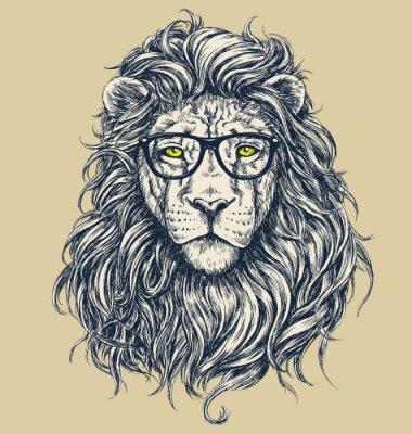 Adesivo Hipster illustrazione vettoriale leone. Occhiali separati.