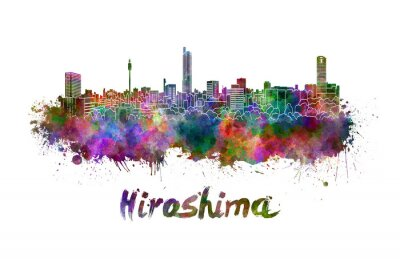 Adesivo Hiroshima orizzonte in acquerello