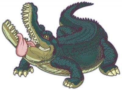 Adesivo Hungry alligatore cartone animato con la lingua fuori