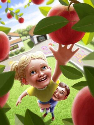 Adesivo I bambini che raggiungono per una mela
