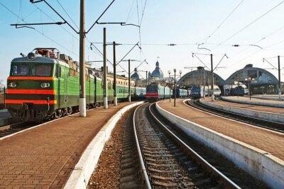 Adesivo I treni alla stazione ferroviaria