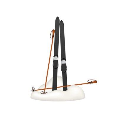 Adesivo I vecchi sci di legno e bastoncini da sci vecchi piedi nella neve