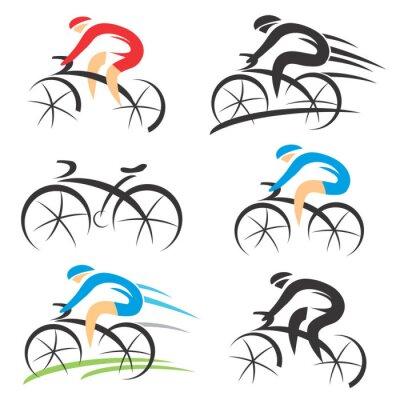 Adesivo Icone con ciclista stilizzato