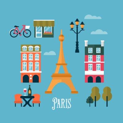 Adesivo Icone di stile piane per Parigi, Francia. Viaggi e turismo infogra