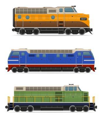 Adesivo icone locomotiva ferroviaria del treno illustrazione vettoriale