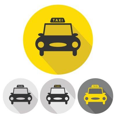 Adesivo icone piane taxi auto impostati