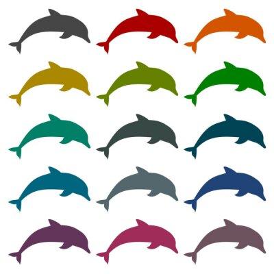 Adesivo Icone Silhouette delfini impostati