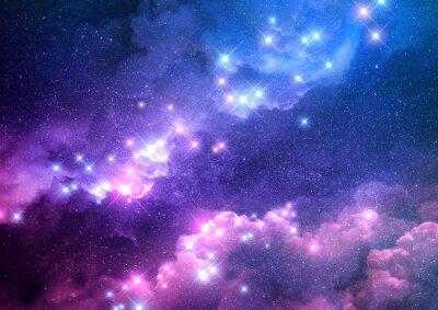 Adesivo Il fondo astratto della galassia rosa e blu ha riempito di stelle luminose. Illustrazione raster