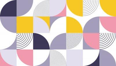 Adesivo Il fondo geometrico di vettore del modello con colore astratto scandinavo o le stampe geometriche svizzere di rettangoli, quadrati e forma di cerchi progettano